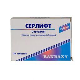 Серлифт, 100 мг, таблетки, покрытые пленочной оболочкой, 28 шт.