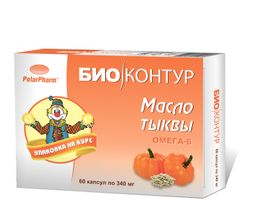 Тыквенное масло, 340 мг, капсулы, 60 шт.