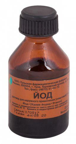 Йода раствор спиртовой 5%, 5%, раствор для наружного применения спиртовой, 25 мл, 1 шт.