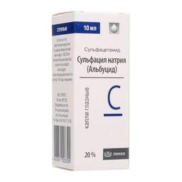 Сульфацил натрия (альбуцид), 20%, капли глазные, 10 мл, 1 шт.