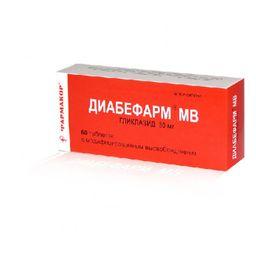 Диабефарм МВ, 30 мг, таблетки с модифицированным высвобождением, 60 шт.
