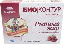 Рыбный жир с маслом шиповника, 330 мг, капсулы, 100 шт.