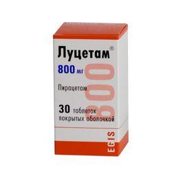 Луцетам, 800 мг, таблетки, покрытые оболочкой, 30 шт.