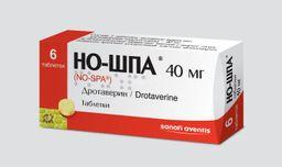 Но-шпа, 40 мг, таблетки, 6 шт.