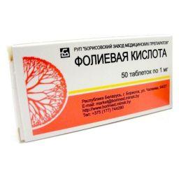 Фолиевая кислота, 1 мг, таблетки, 50 шт.