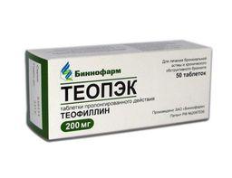 Теопэк, 200 мг, таблетки пролонгированного действия, 50 шт.