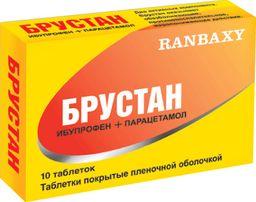 Брустан, 400 мг+325 мг, таблетки, покрытые пленочной оболочкой, 10 шт.