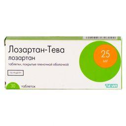 Лозартан-Тева, 25 мг, таблетки, покрытые пленочной оболочкой, 30 шт.