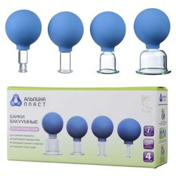 Банка сухая вакуумная полимерно-стеклянная БВ-01- АП, диам.11мм, 22мм, 33мм, 50мм, набор, стеклянные, 4 шт.