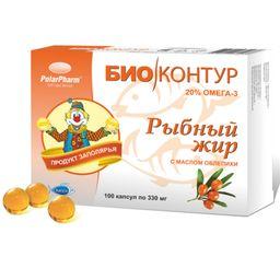 Рыбный жир с маслом облепихи, 330 мг, капсулы, 100 шт.