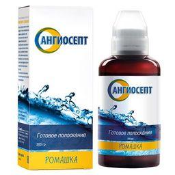 Ополаскиватель Ангиосепт, раствор для полоскания полости рта, ромашка, 200 мл, 1 шт.