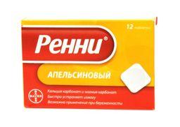 Ренни, 680 мг+80 мг, таблетки жевательные, апельсиновый (ые), 12 шт.